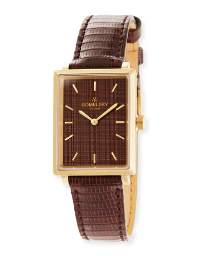 The Shirley Fromer 32mm Watch with Brown Lizard Strap