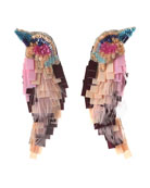 Beaded Bird Statement Earrings