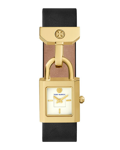 Surrey Padlock Multilink Bracelet Watch, Black/Golden