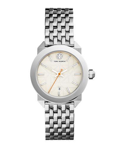 Whitney Bracelet Strap Watch, Ivory/Silvertone