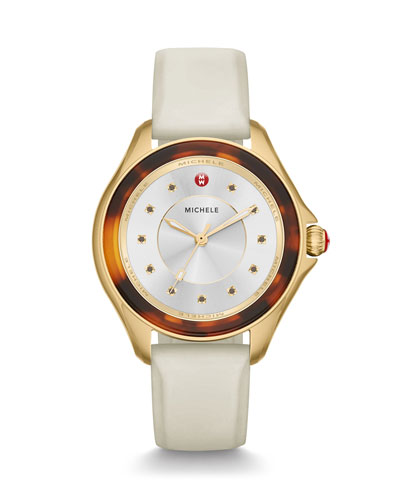 Cape Tortoiseshell Watch with White Strap