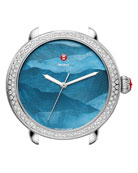 Serein 18mm Watch Head with Diamonds in Silver/Teal