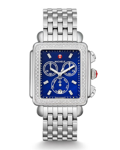 Deco Diamond XL Bracelet Watch with Diamonds in Blue/Silver