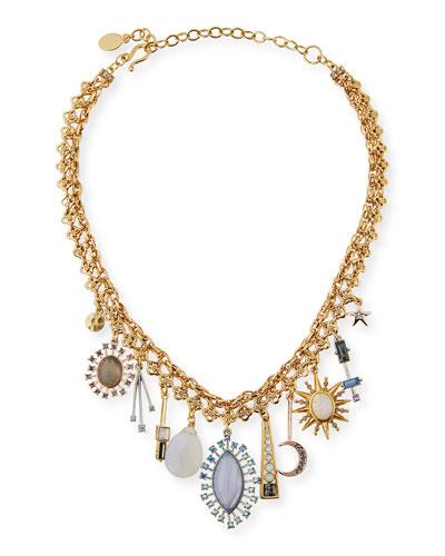 Celestial Crystal Charm Choker Necklace