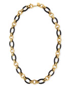 "Ikulu Dark Horn & Bronze Chain Necklace, 36"""