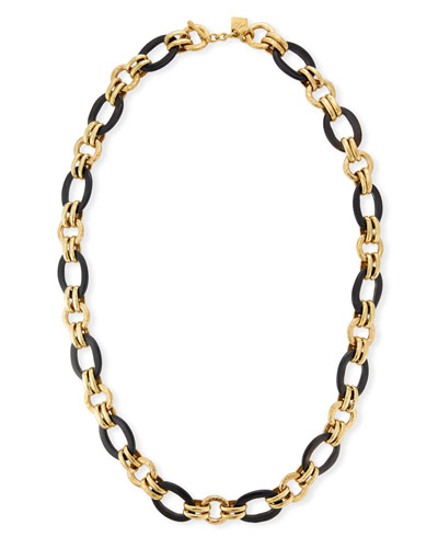 Ikulu Dark Horn & Bronze Chain Necklace, 36