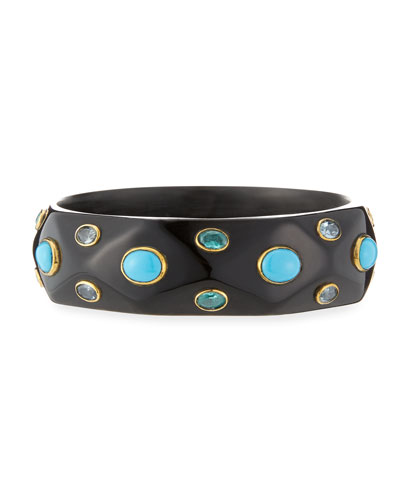 Tabaka Turquoise Dark Horn Bangle Bracelet
