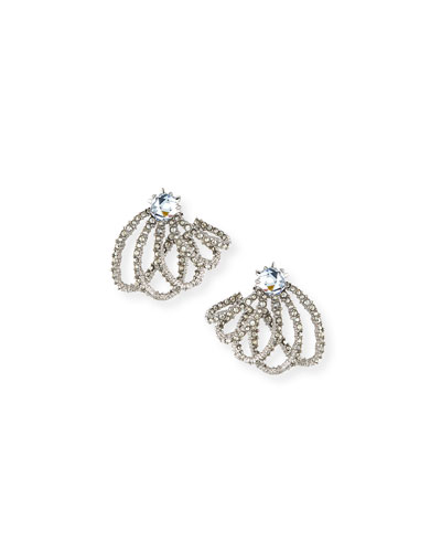 Silvertone Crystal Lace Orbiting Post Earrings