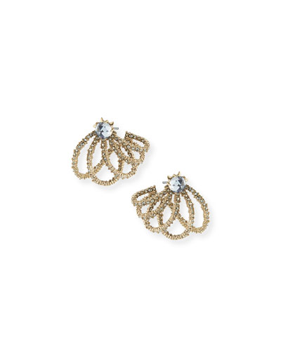 Golden Crystal Lace Orbiting Post Earrings