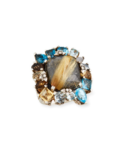 Rutilated Quartz Doublet Ring, Size 7