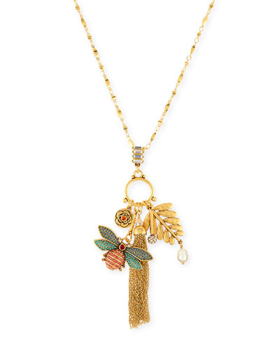 Crystal Bug Charm Necklace