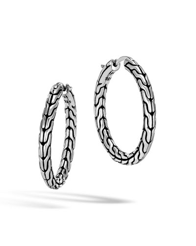 Classic Chain Medium Sterling Silver Hoop Earrings