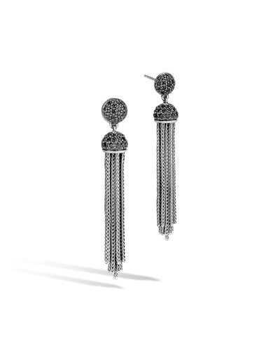 Classic Chain Tassel Earrings with Black Sapphire & Black Spinel