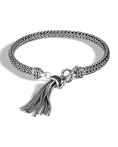 Classic Chain Bracelet with Black Sapphire & Spinel Tassel