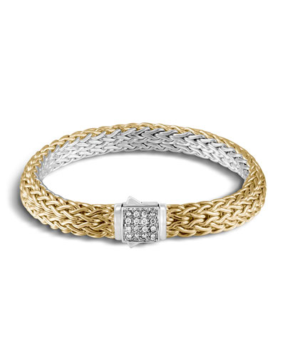 Classic Chain Reversible 18K Gold Bracelet & Sterling Silver Bracelet with ...