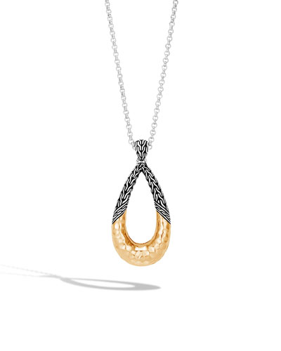 Classic Chain Hammered 18K Teardrop Pendant Necklace