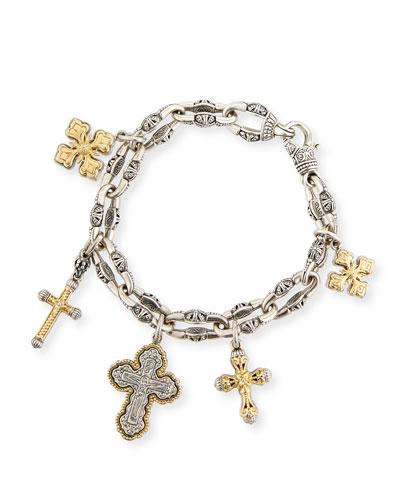 Sterling Silver & 18K Gold Cross Charm Bracelet