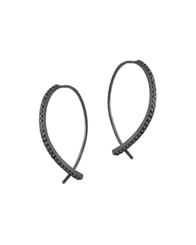 Reckless Mini Hooked on Hoops 14K Black Gold Earrings with Black Diamonds
