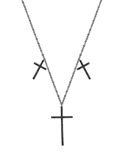 Reckless 14K Black Gold Triple-Cross Necklace with Black Diamonds