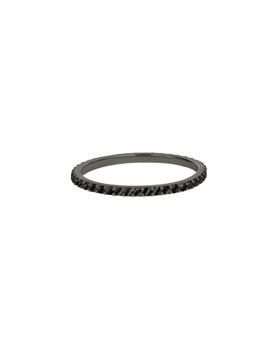 Reckless 14K Black Gold Stacking Band Ring with Black Diamonds, Size 7