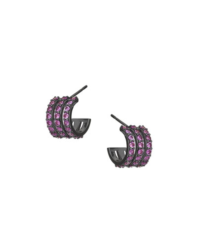 Electric 14K Black Gold Triple-Huggie Hoop Earrings with Pink Sapphire