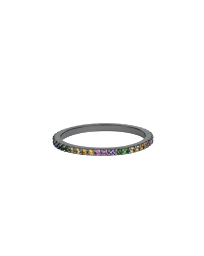 Electric Stack Band Ring with Rainbow Sapphires, Size 7
