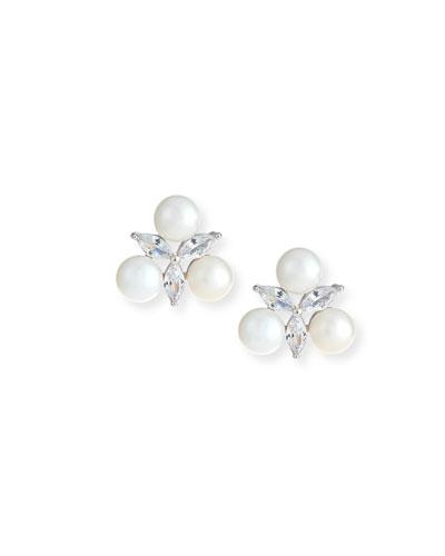 Monarch Pearly Starburst Crystal Earrings