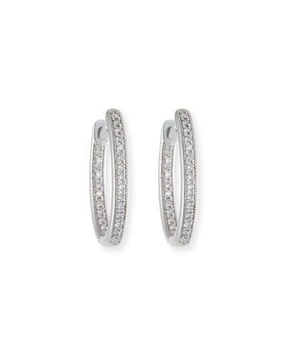 Lisse Small Diamond Hoop Earrings in 18K White Gold