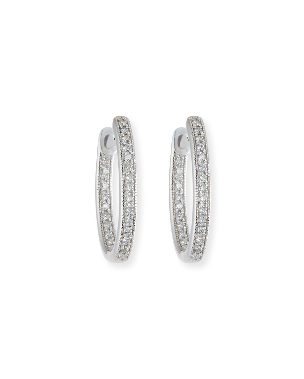 Lisse Small Diamond Hoop Earrings in 18K White Gold