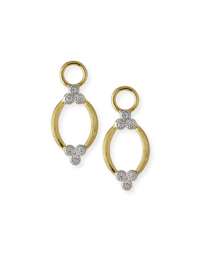 Provence Brushed Open Marquis Earring Charms with Diamonds