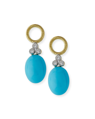 Provence Turquoise Cabochon Briolette Earring Charms with Diamonds