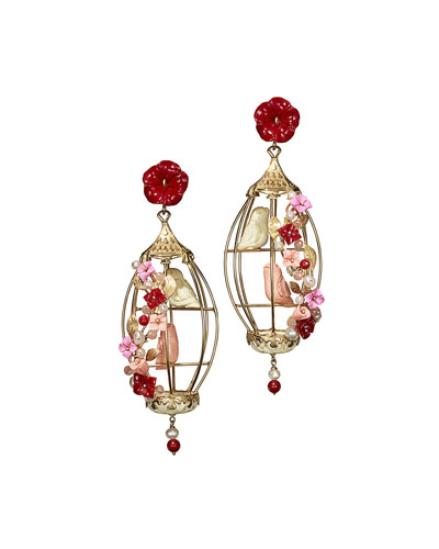 Aviary Lovebird Coral & Agate Birdcage Earrings