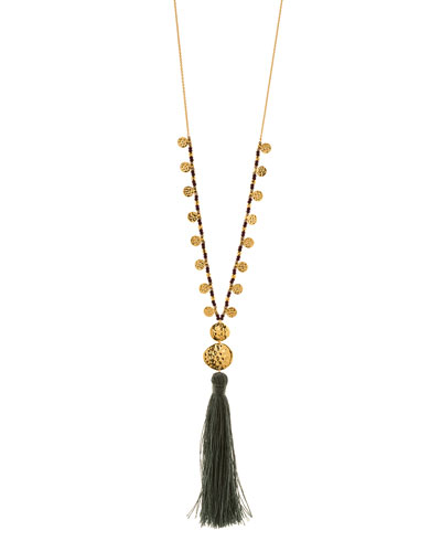 Leaucadia Green Tassel Necklace