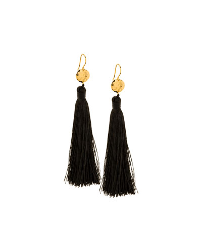 Leaucadia Black Tassel Earrings