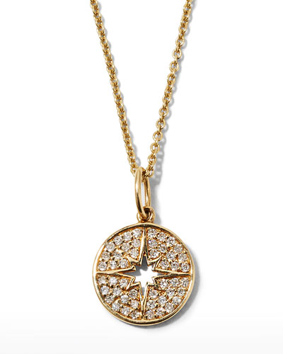 Anniversary Small Starburst Medallion Necklace with Diamonds