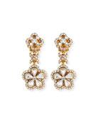 Crystal Flower Drop Clip-On Earrings