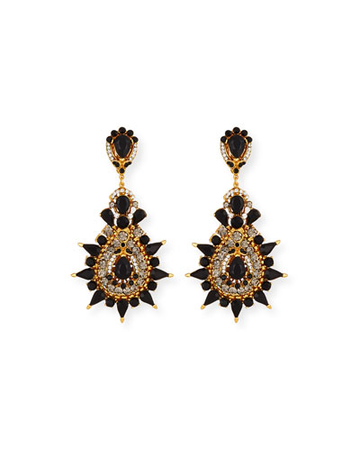 Black Crystal Starburst Clip-On Earrings