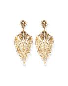 Golden Crystal Chandelier Clip-On Earrings