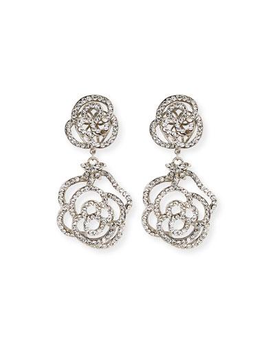 Crystal Flower Double-Drop Clip-On Earrings