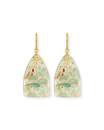 Old World Aquaprase Slice Earrings with Diamonds