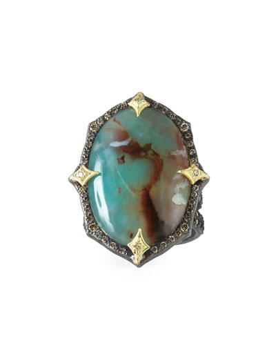Old World Aquaprase™ Oval Cabochon Ring with Diamonds
