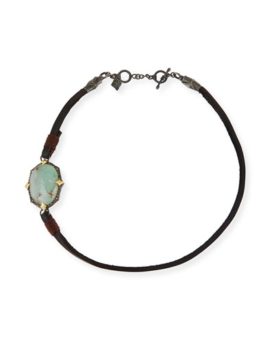 Old World Leather & Aquaprase Cabochon Wrap Bracelet
