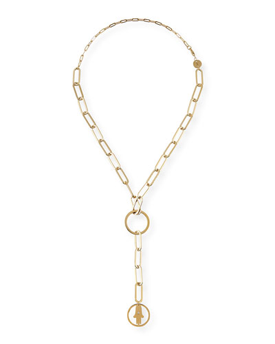 Casia Chunky Chain Short Lariat Necklace with Hamsa Pendant