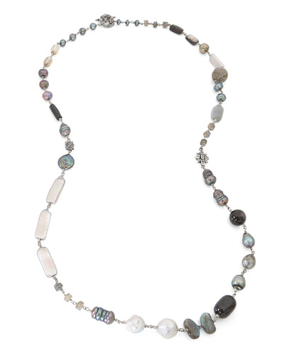Peacock Silver Pearl & Bead Necklace