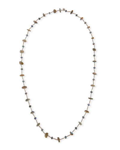 Pearl & Labradorite Beaded Station Necklace, 44