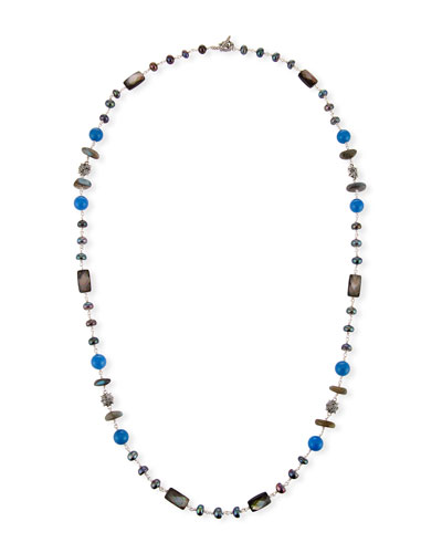 Pearl & Blue Agate Beaded Station Necklace, 32