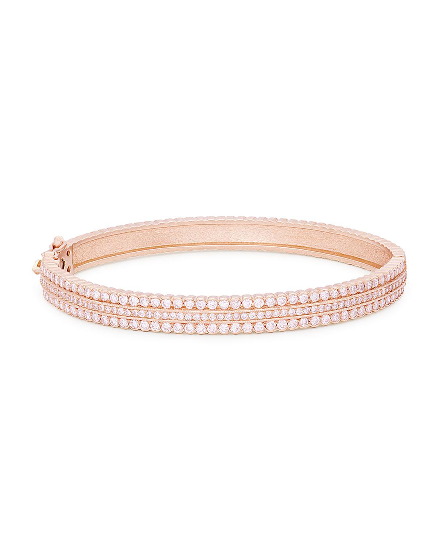 Hinged Scalloped White Diamond Bracelet in 18K Rose Gold