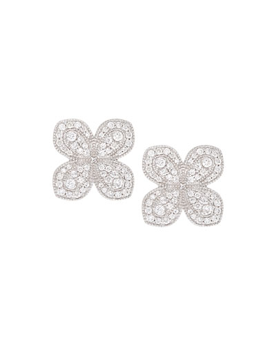 Scallop Pavé Petal Earrings with Diamonds in 18K White Gold