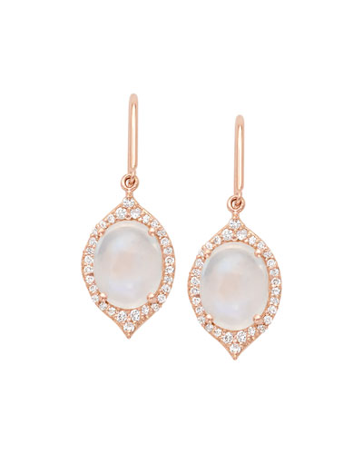 Aladdin Rainbow Moonstone & Diamond Drop Earrings in 18K Rose Gold