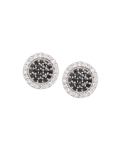 Scallop Pavé Black & White Diamond Earrings